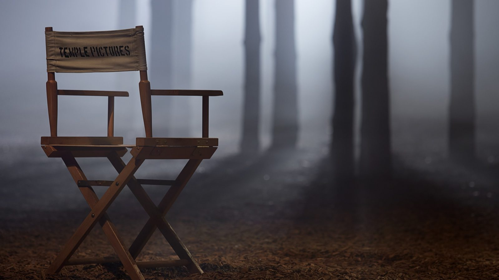 Empty directors chair with 'Temple Pictures' written on it. Located in a forest setting